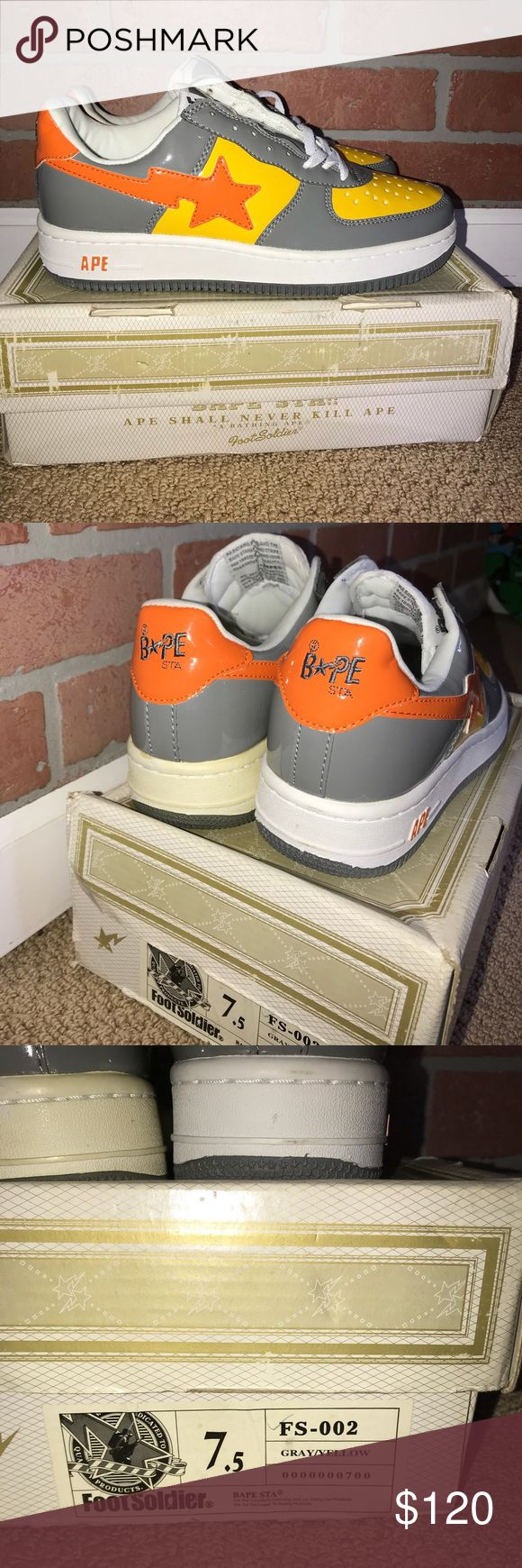 Bapesta Foot Soldiers Bapesta Foot Soldier  Comes with box. *box does have wear and is damaged   Shoes are Deadstock (Brand new Never tried on)   Size 7.5 Bape Shoes Sneakers