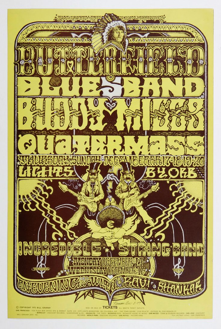Bill Graham 261 Norman Orr signed Poster Incredible String Band Ravi Shankar 1970 Dec 14