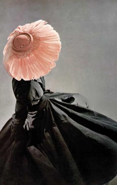 Ahhh, Christian Dior Designed Blush Feathered Hat and Black Silk Dress. Spring/Summer 1948 Haute Couture Collection, In All Seriousness I'd Still Wear This. Why not?