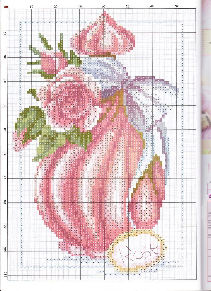 point de croix bouteille rose de parfum - cross stitch pink bottle of perfume