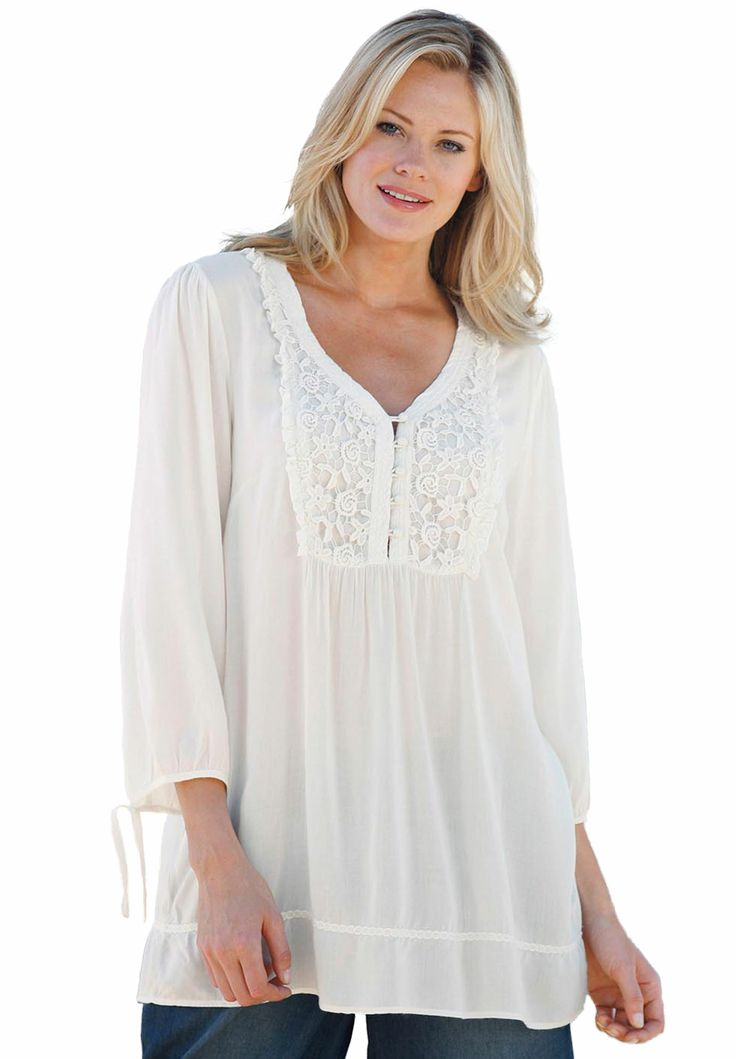 Blouse, crocheted bib, by Ellos® | Plus Size Tops by Length | Woman Within