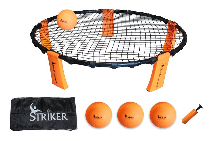 The New Volleyball Style Round-Net Game That is Sweeping the Beaches By Storm!  10% Off With Promo Code PIN10  STRIKER   INCLUDES TARGET, 3 BALLS, CARRYING BAG, PUMP & MANUAL   EXCITING FAST PACED OUTDOOR LAWN GAME   PORTABLE   PERFECT FOR BACKYARD, BEACH, TAILGATE, SPORTING EVENTS   FUN FOR KIDS AND ADULTS