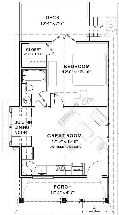 Plans Search Results.  About 560 sf.  I would do a built in bench and table ( not a nook) and orient the LR furniture differently, but not bad.
