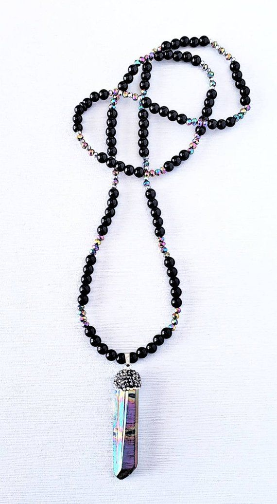 Rainbow Titanium Crystal Quartz Pendant Necklace Raw Pave Crystal Quartz Geode Pendant Long Black Obsidian Rainbow Czech Crystal Necklace