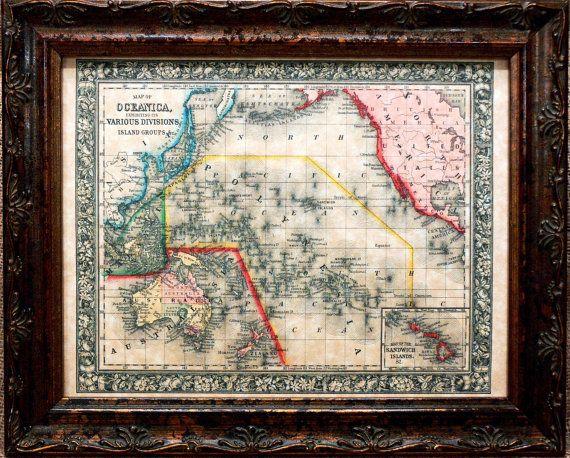 Australia-Polynesia Map Print of an 1864 Map on by apageintime
