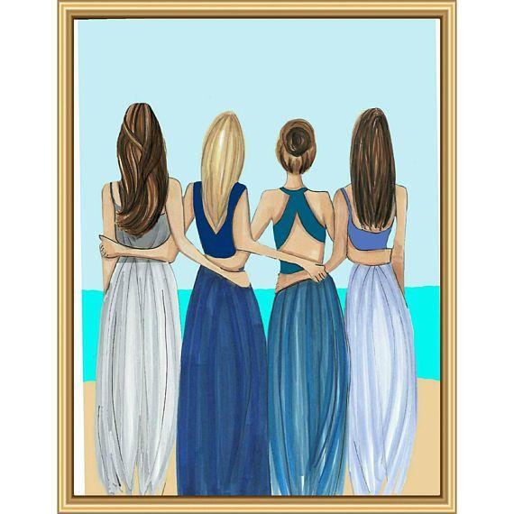 Four Friends Fashion Illustration Best Friend Gift Long Distant