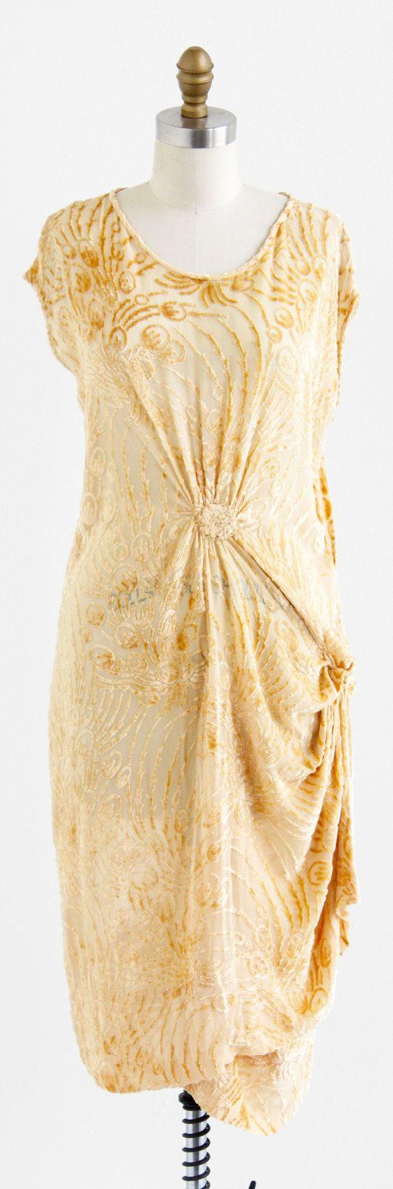 Egyptian inspired modern day style - Vintage 1920s Dress Flapper Dress Champagne Voided Velvet Art Deco Egyptian Revival Dress