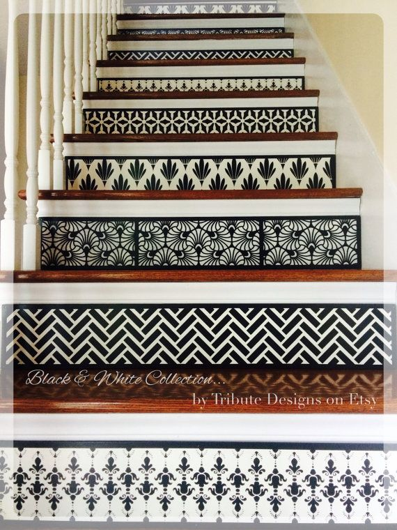 Black U0026 White Geometric Home Decor, Contemporary Style Stair Riser Instead  Of Vinyl Decals ~