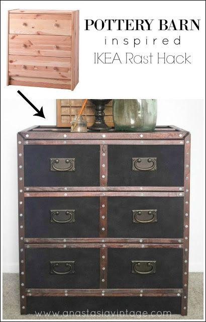 Pottery Barn Inspired IKEA Rast Hack. It looks just like reuposed vintage trunks! AMAZING! - Anastasia Vintage