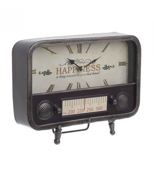 METAL 'OLD RADIO' TABLE CLOCK IN ANTIQUE BROWN COLOR 25_5Χ8Χ20