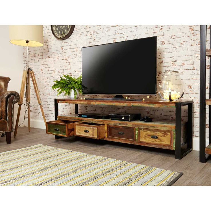 IRF09C Baumhaus Rustic Reclaimed Wood Urban Chic Open Widescreen Television Cabinet