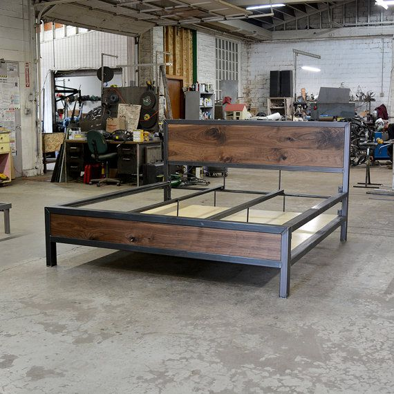 25 best ideas about industrial bed on pinterest pallet headboards diy projects and headboard. Black Bedroom Furniture Sets. Home Design Ideas
