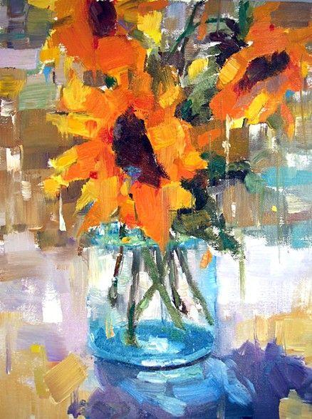 "Gina Brown, artist,""Sunny Flowers"", 12x9"