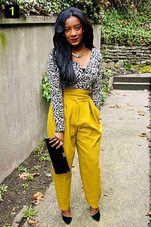When I say high waisted! // yellow pants with gray pattern blouse