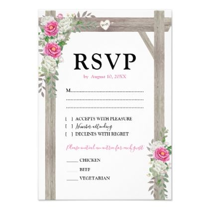 Rustic Country Pink Floral Wedding Arch RSVP Reply Card - reply diy cyo unique personalize customize
