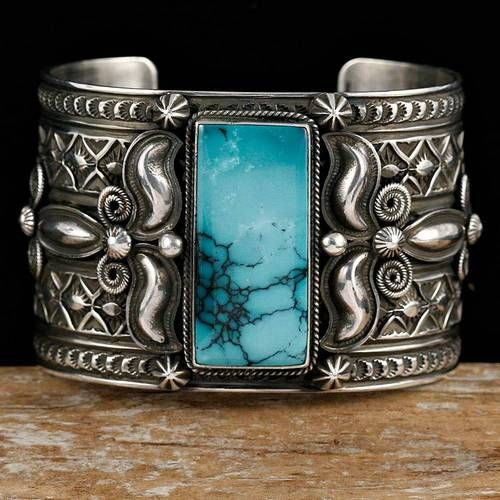 X Hvy Andy Cadman Navajo Turquoise Bracelet Sterling Silver Native American