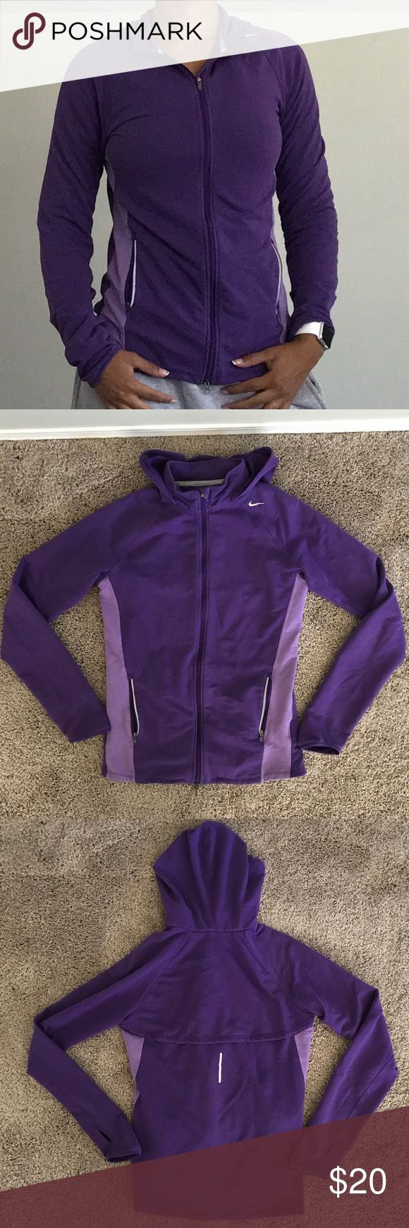 "Nike zip up hoodie Fashionable Nike purple zip up hoodie. This hoodie is simple yet stylish. Size medium with a measured pit to pit of about 17"". Hoodie is lightly used Nike Tops Sweatshirts & Hoodies"