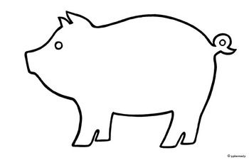This is an original, hand-drawn outline of a pig. In my