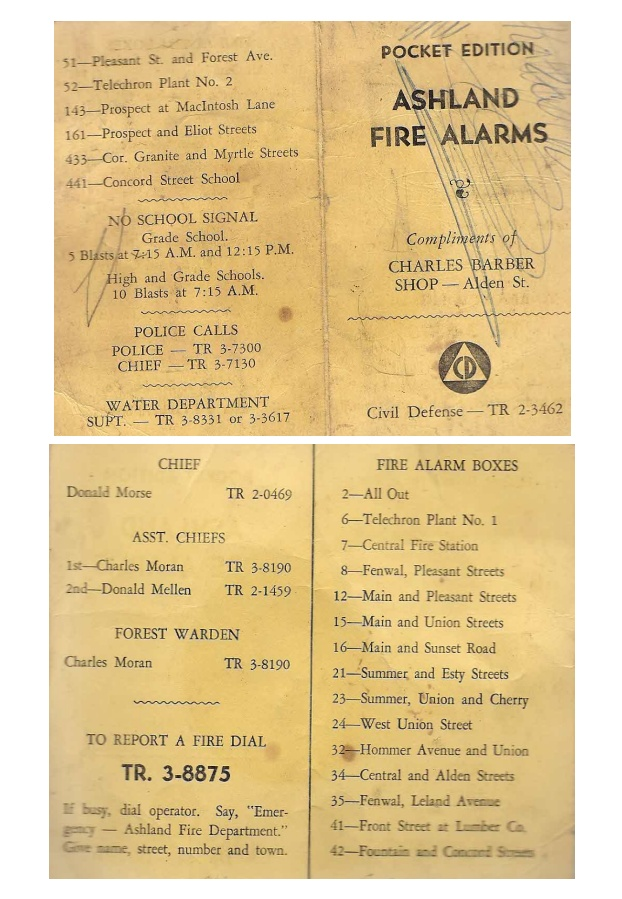 Ashland, MA: When telephones had a TR number Ashland Fire Alarms Pocket Record