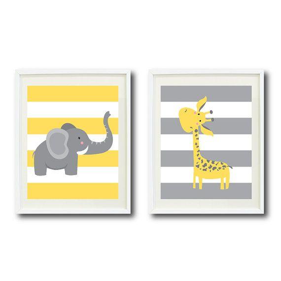 Safari Nursery Art Print Set of Two 11x14-Giraffe, Elephant-Lemon Zest, Yellow, Grey White OR Choose Colors-Chevron Stripes-Zoo Animals