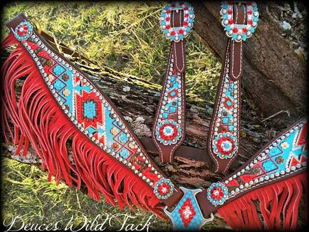 Chevron Aztec Set - Turquoise & Red - DEUCES WILD TACK LLC