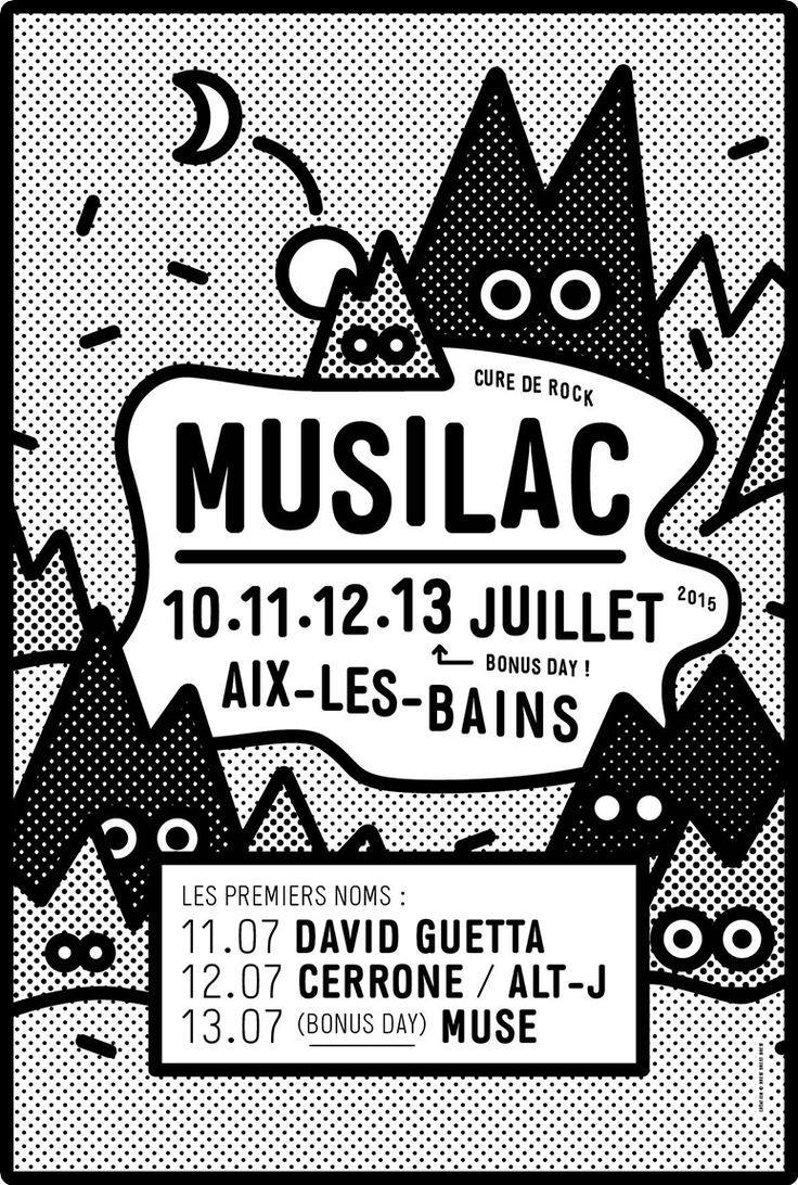 Poster design monochrome - Musilac Festival Black White Poster Design