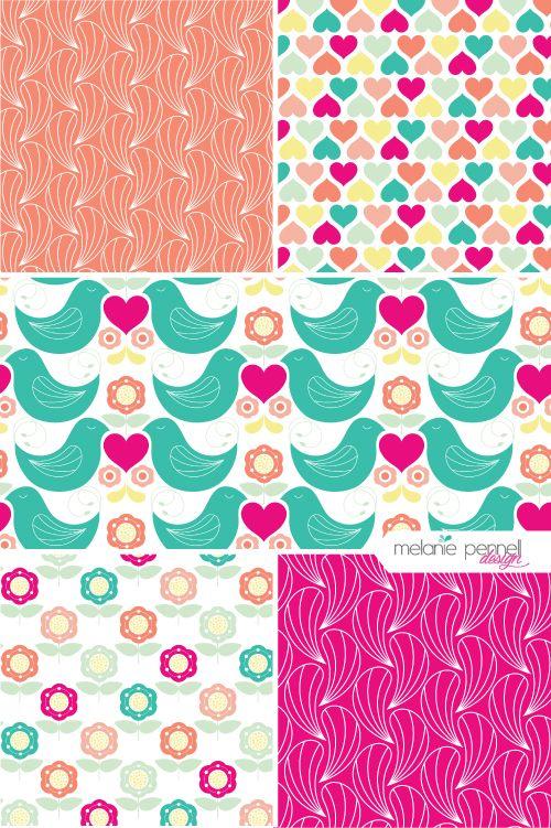 Walentynki © Melanie Pennell Design // surface pattern // fabric design // folk art
