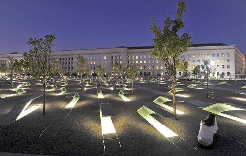 The Pentagon and the 9-11 memorial - the rows mark the trajectory of American Airlines #77 into the Pentagon on Sept 11, 2001