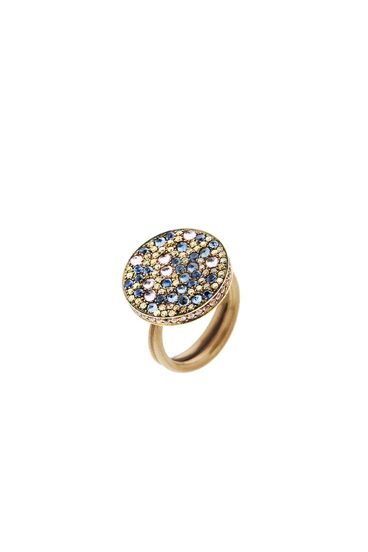 Gold K18 Brown Diamonds & Sapphires