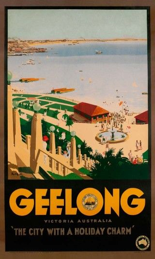 """Geelong by James Northfield - Published by Victorian Railways, Australia and the Geelong Publicity Council, this poster graphically demonstrates the validity of its by-line – """"The City with a Holiday Charm"""". Looking north-west from Hearne and Eastern Beach Road, it captures the Eastern Beach Reserve and the beachfront where the Eastern Beach Swimming Enclosure now resides."""