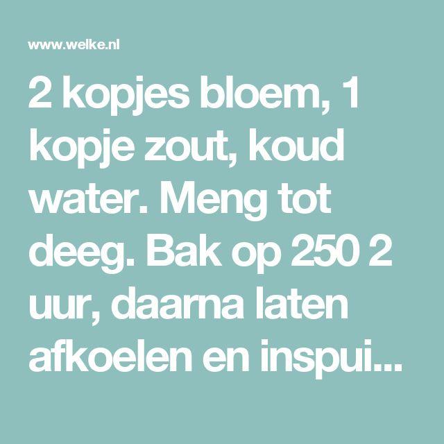 2 kopjes bloem, 1 kopje zout, koud water. Meng tot deeg.  Bak op 250  2 uur, daarna laten afkoelen en inspuit met metaal lak.. Foto geplaatst door jorienypma op Welke.nl