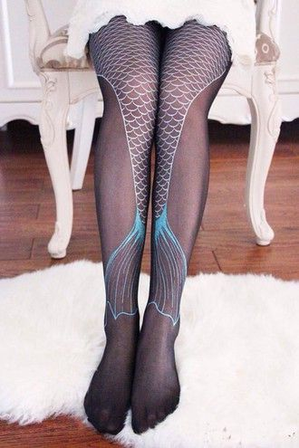 tights blue mermaid cute leggings black fashion style punk goth hipster mermaid…