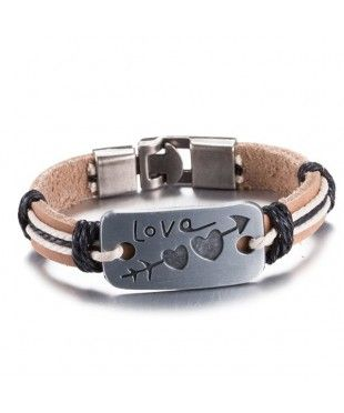 Leather Engraved Heart Love Arrow Bracelet