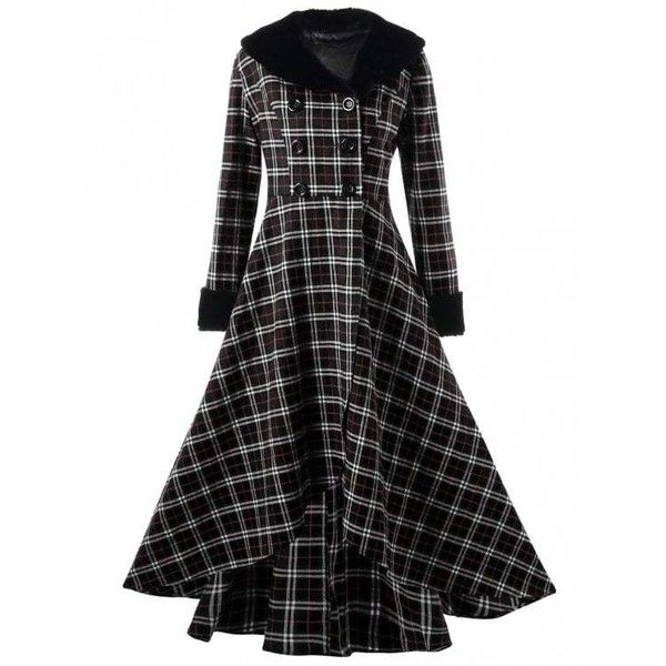 Plus Size Double Breasted Plaid Swing Coat (€25) ❤ liked on Polyvore featuring outerwear, coats, dresses, jackets, zaful, trapeze coat, double breasted swing coat, plaid swing coat, plus size swing coat and women's plus size coats