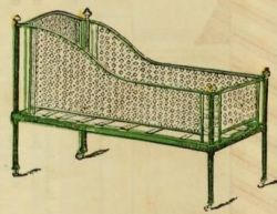 Victorian baby crib 1870s  A superior crib with perforated zinc sides, according to an 1870s catalogue