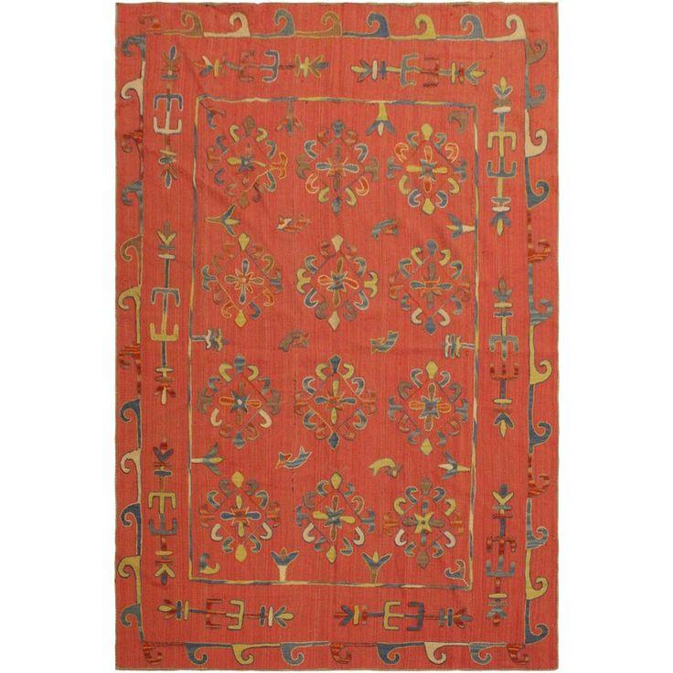 Tribal Embroidered Ikat Kilim Pink/Blue Wool Rug – 6'0 X 7'5