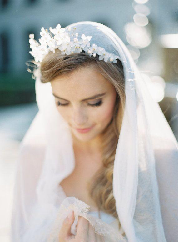 theodora crown english silk tulle veil by gibsonbespoke on etsy