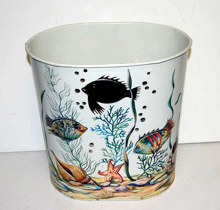 Cute Vintage Weibro METAL WASTEBASKET Trash Can Colorful Tropical Fish BATHROOM