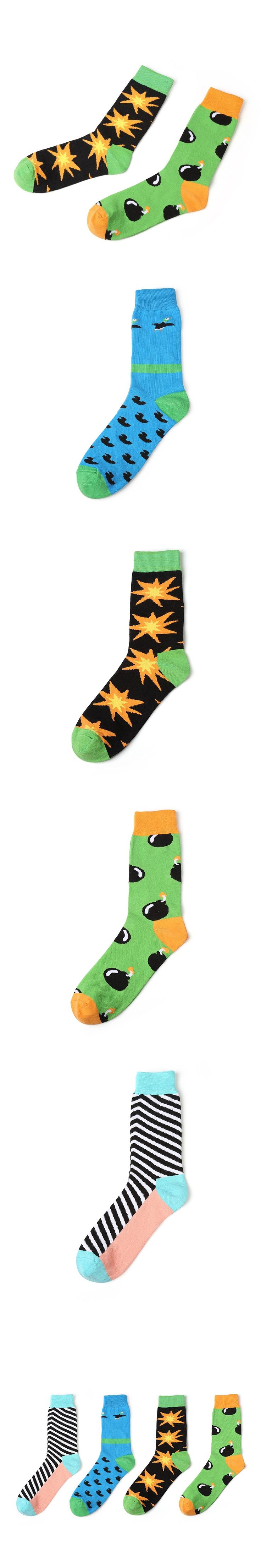 Hot Sale Stockings For Men Chaussettes Homme Coton Creative Colorful Cotton Long Socks For Men Casual Men's Stockings