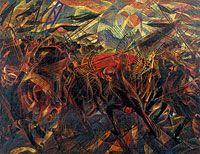 Carlo Carrà, I Funerali dell'anarchico Galli, 1910-1911 [Les Funérailles de l'anarchiste Galli] Huile sur toile, 198,7 x 259,1 cm The Museum of Modern Art, New York