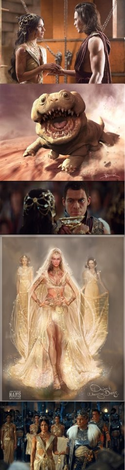 John Carter is based on a classic novel by Edgar Rice Burroughs:  Woola !!  A very lovely monster!!!  guess what, I like the design of the cup in the wedding ceremony :D  The visual art of of Princess Dejah Thoris (Lynn Collins), really nice : )