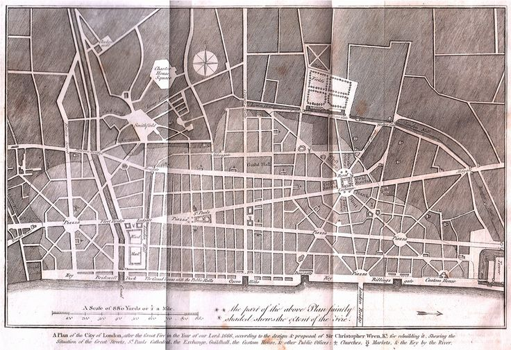 Plan for London after the Great Fire of 1666, Sir Christopher Wren