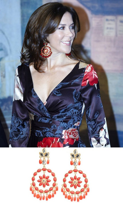 Princess Mary - love the dress and the earrings make it better