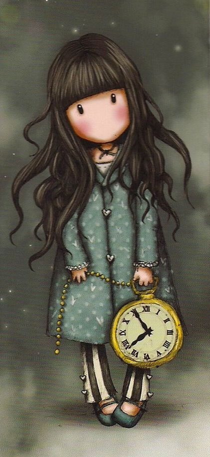 #Ilustración bonita Gorjuss Cards niña reloj para #llienzo #póster o fotolienzo en foam forex o metacrilato personalíza e imprime el tuyo en powerprint.es                                                                                                                                                     Más