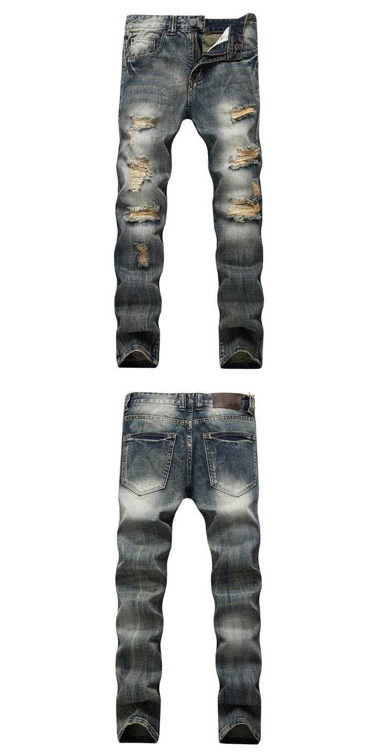 da3c0063f2f4 New Dropshipping Biker Men Jeans Denim Pants Slim Punk Distressed Straight  Long Retro Pants Plus Size Casual Ripped Jeans