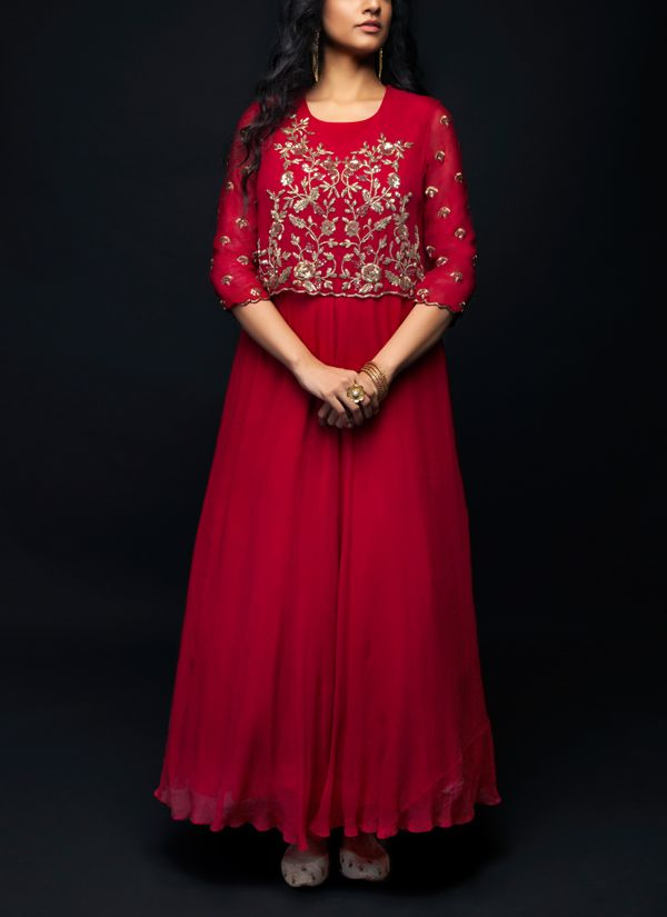 40a900c76f Maroon Zardosi Embroidered Gown in 2019