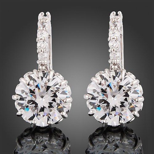 Brilliant quality white Gold Gp clear crystal hoop earrings 1 Pair zircon Jewelry brass Material for Women Gift 5CJ5