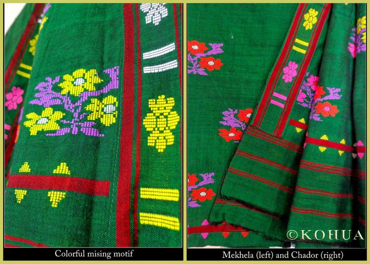 Multi Mishing Mekhla Sador - Green from Lal10.com
