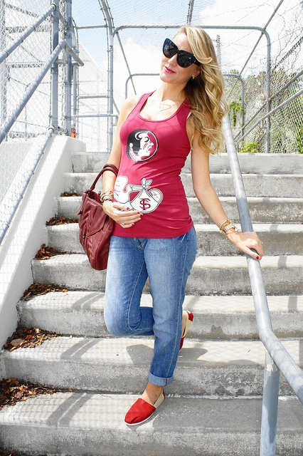 Jen from Belle de Couture in FSU game day style