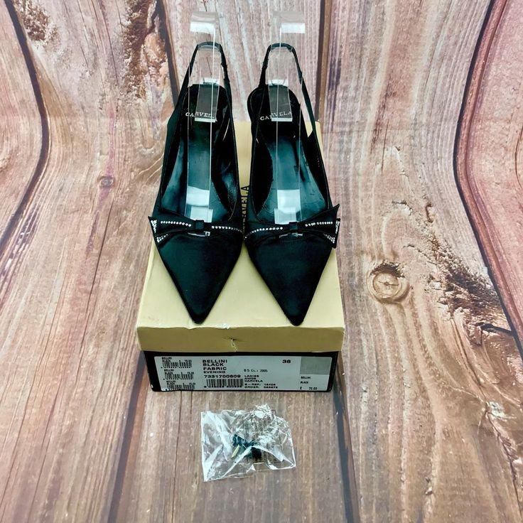 Kurt Geiger Carvela Bellini black fabric evening Womans pointed Shoes slingbacks